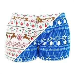 [Chubbies] 2-In-1 Ugly Christmas Hanukkah Shorts